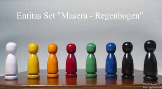 8-er Set Familienbrett-Figuren Entitas Masera- Regenbogen