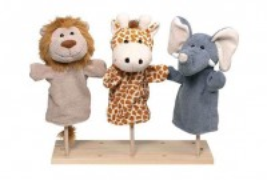 Handpuppen Wilde Tiere (Löwe, Giraffe, Elefant)