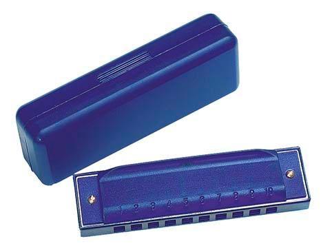 Blaue Mundharmonika in blauer Kunststoffschachtel