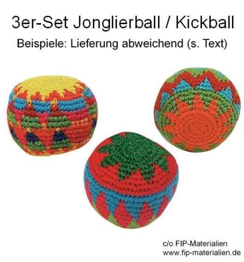 Bunter Jonglierball - Kickball (gehäkelt) 3-er Set
