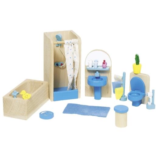 Puppenmöbel Blaues Badezimmer