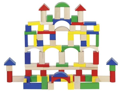100 Holz-Bausteine - farbig